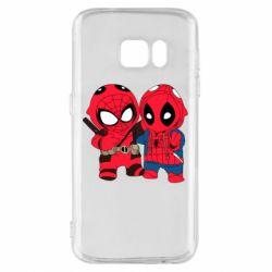 Чехол для Samsung S7 Дэдпул и Человек паук
