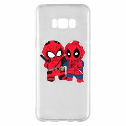 Чехол для Samsung S8+ Дэдпул и Человек паук