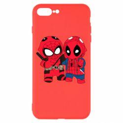 Чехол для iPhone 8 Plus Дэдпул и Человек паук