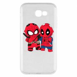 Чехол для Samsung A7 2017 Дэдпул и Человек паук