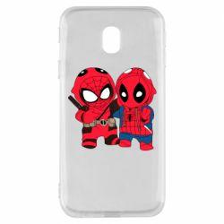 Чехол для Samsung J3 2017 Дэдпул и Человек паук