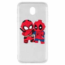 Чехол для Samsung J7 2017 Дэдпул и Человек паук