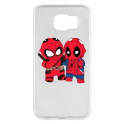 Чехол для Samsung S6 Дэдпул и Человек паук