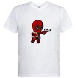 Мужская футболка  с V-образным вырезом Дедпул с пакетиком - FatLine