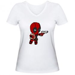 Женская футболка с V-образным вырезом Дедпул с пакетиком - FatLine