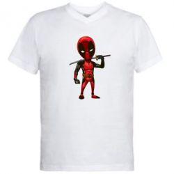 Мужская футболка  с V-образным вырезом Дэдпул - FatLine