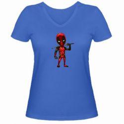 Женская футболка с V-образным вырезом Дэдпул - FatLine