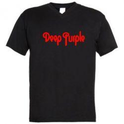 Мужская футболка  с V-образным вырезом Deep Purple - FatLine