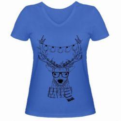 Купить Женская футболка с V-образным вырезом Deer and lanterns, FatLine