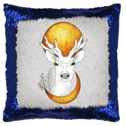 Подушка-хамелеон Deer and moon