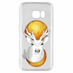 Чехол для Samsung S7 Deer and moon