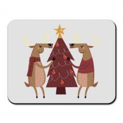 Купить Коврик для мыши Deer decorating the Christmas tree, FatLine