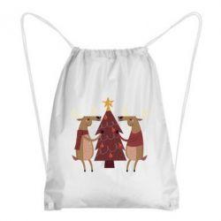 Купить Рюкзак-мешок Deer decorating the Christmas tree, FatLine