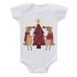 Купить Детский бодик Deer decorating the Christmas tree, FatLine