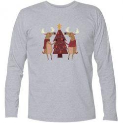 Купить Футболка с длинным рукавом Deer decorating the Christmas tree, FatLine