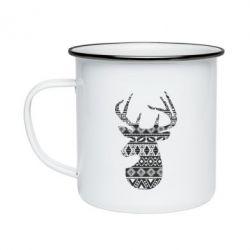 Кружка емальована Deer from the patterns