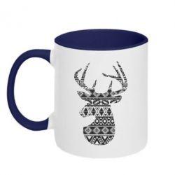 Кружка двоколірна 320ml Deer from the patterns