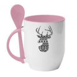 Кружка з керамічною ложкою Deer from the patterns