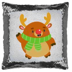 Подушка-хамелеон Deer in a scarf