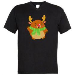 Мужская футболка  с V-образным вырезом Deer in a scarf