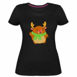 Женская стрейчевая футболка Deer in a scarf