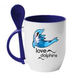 Кружка з керамічною ложкою Дельфін