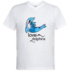 Мужская футболка  с V-образным вырезом Дельфин
