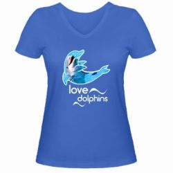 Женская футболка с V-образным вырезом Дельфин
