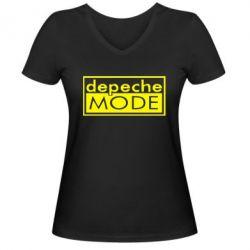 Женская футболка с V-образным вырезом Depeche Mode Rock - FatLine