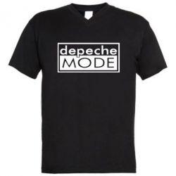 Мужская футболка  с V-образным вырезом Depeche Mode Rock - FatLine