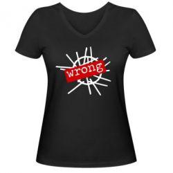 Женская футболка с V-образным вырезом Depeche Mode Wrong - FatLine