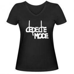 Женская футболка с V-образным вырезом Депеш Мод - FatLine