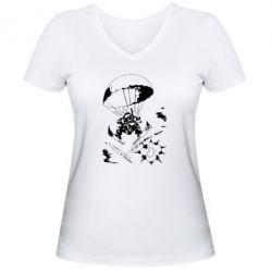 Женская футболка с V-образным вырезом Десантник - FatLine