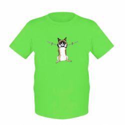 Детская футболка Grumpy Cat On The Rope