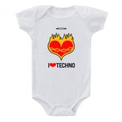 Детский бодик I love Techno logo - FatLine
