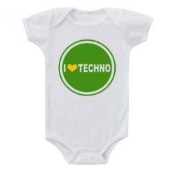 Детский бодик I love techno music - FatLine