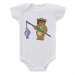 Детский бодик Медведь ловит рыбу - FatLine