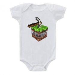 Детский бодик Minecraft Logo Сube - FatLine