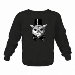 Дитячий реглан (світшот) Black and white cat intellectual
