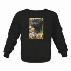 Детский реглан (свитшот) Black pig and flowers