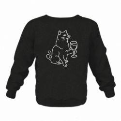Дитячий реглан (світшот) Cat with a glass of wine