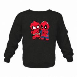 Детский реглан (свитшот) на флисе Дэдпул и Человек паук