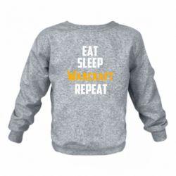 Детский реглан (свитшот) Eat sleep Warcraft repeat