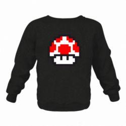 Детский реглан (свитшот) на флисе Гриб Марио в пикселях