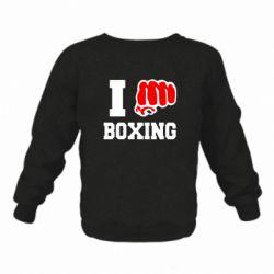 Детский реглан (свитшот) на флисе I love boxing