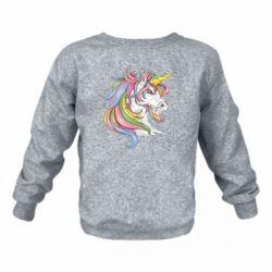 Дитячий реглан (світшот) Кінь з кольоровою гривою
