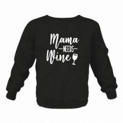 Детский реглан (свитшот) на флисе Mama need wine