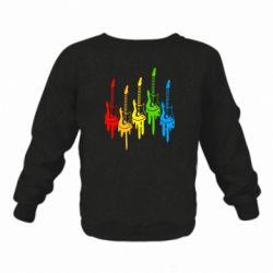 Детский реглан (свитшот) Разноцветные гитары