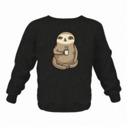 Дитячий реглан (світшот) Sloth loves coffee