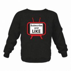 Дитячий реглан (світшот) Subscribe and like youtube